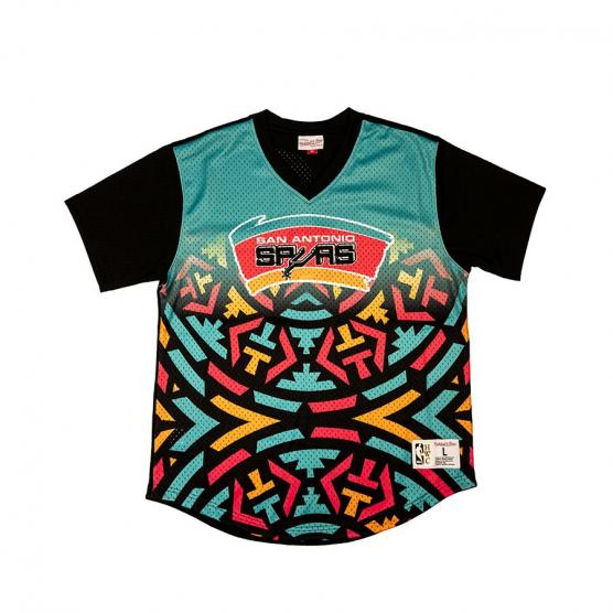 koszulka mitchell ness game winning shot mesh v neck san antonio spurs teal black mspomg18044 sasptbk 5d847d6f2e06a