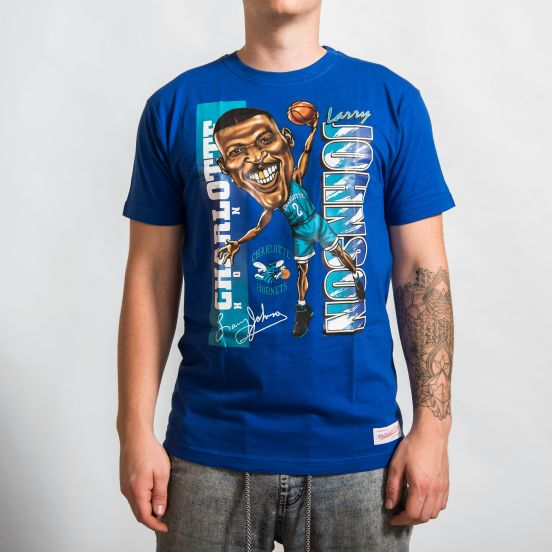 mithcell ness nba charlotte hornets larry johnson caricature traditional tee caricattrad chahor roy 3aaaccc847a99059136845da5d5e29fd6 6